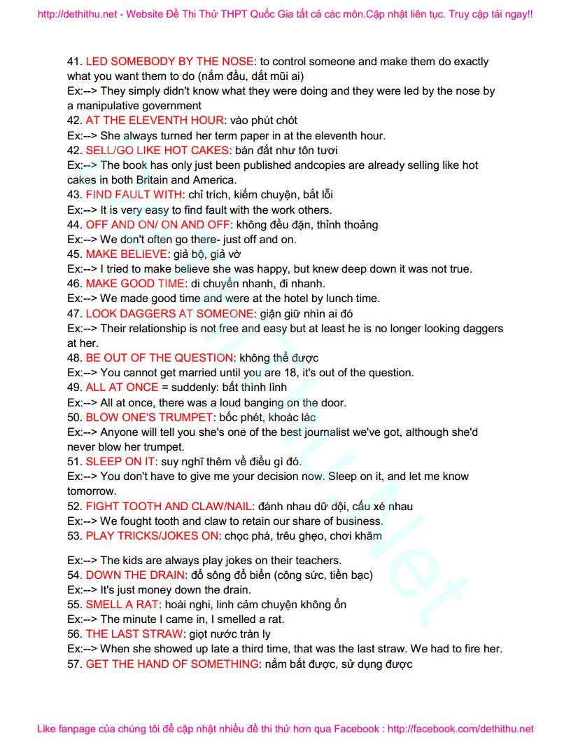 100 idioms thành ngữ tiếng Anh quan trọng hay gặp trong đề thi THPT Quốc Gia (P1)
